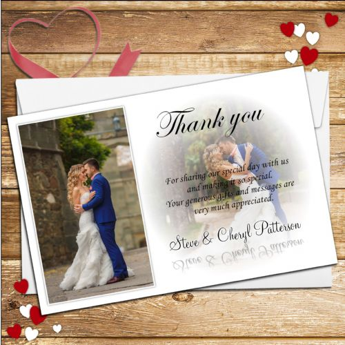10 Personalised Wedding Thank you PHOTO Cards N170